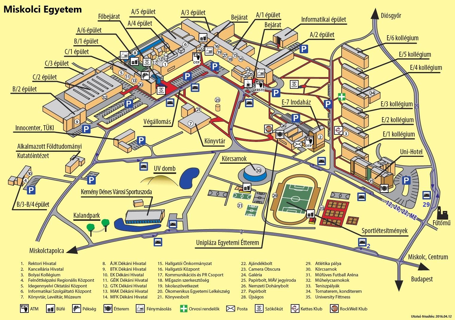 miskolci egyetem térkép Hasznos linkek   Általános Informatikai Intézeti Tanszék